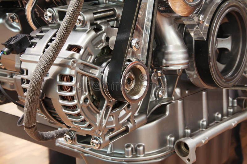 Closeup of a car alternator. Component of car electrical system royalty free stock image