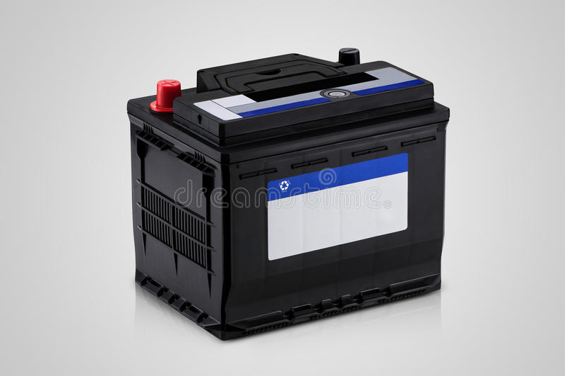 Closeup of the car battery stock photography