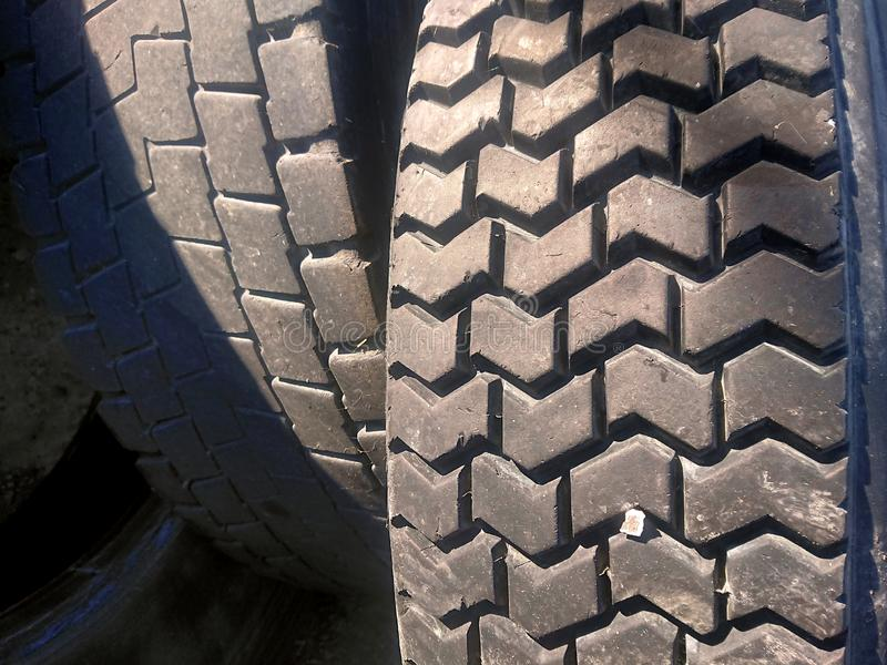 Closeup of Car and Truck Rubber Tyers. Closeup of Car and Truck Rubber Tiers royalty free stock photography