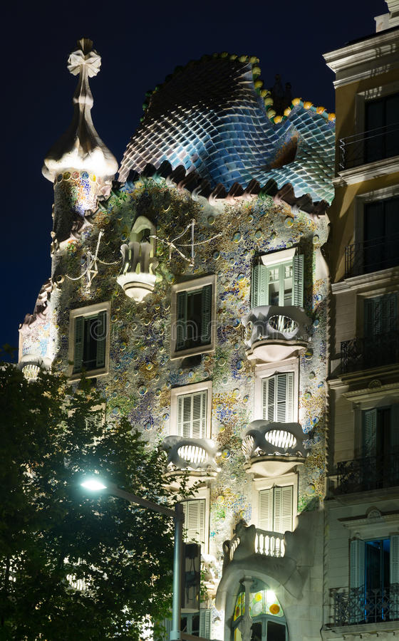Closeup of Casa Batllo in night. BARCELONA, SPAIN - JUNE 23, 2015: Closeup of Casa Batllo in night. Was built in 1904 by Catalan architect Antoni Gaudi, Catalan royalty free stock images
