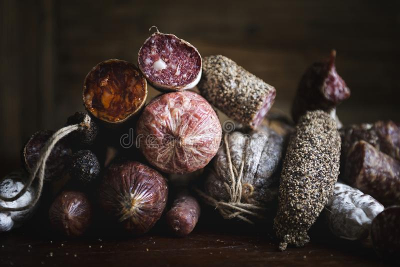 Closeup of charcuterie meat products food photography recipe idea royalty free stock photography