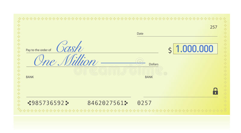 Closeup of Check Made Out for One Million Dollars royalty free illustration