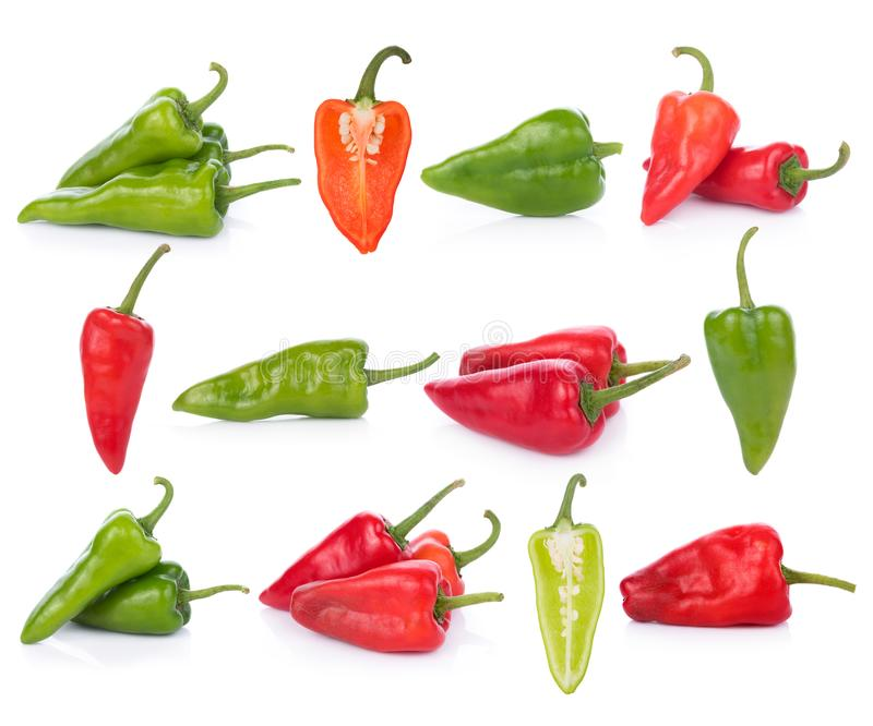 Chili peppers on white background. CloseUp chili peppers on white background royalty free stock photo