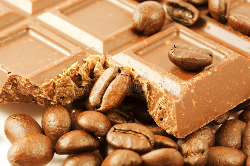 Download Closeup Chocolate Bar With Coffee Beans Stock Image - Image: 11804077
