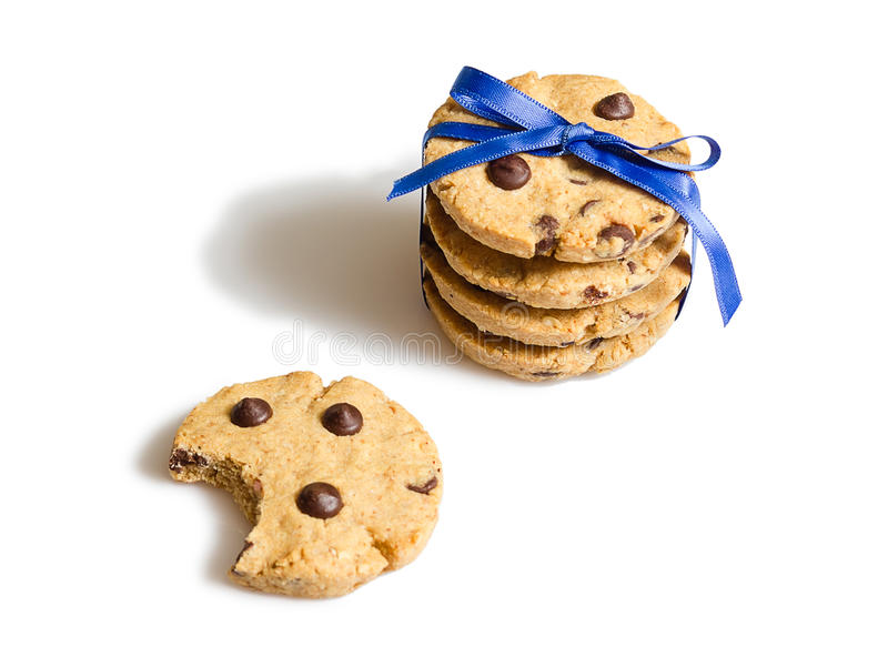 Closeup of chocolate chip cookies pile isolated royalty free stock photo