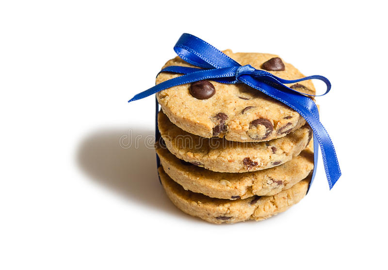 Closeup of chocolate chip cookies pile isolated stock photography