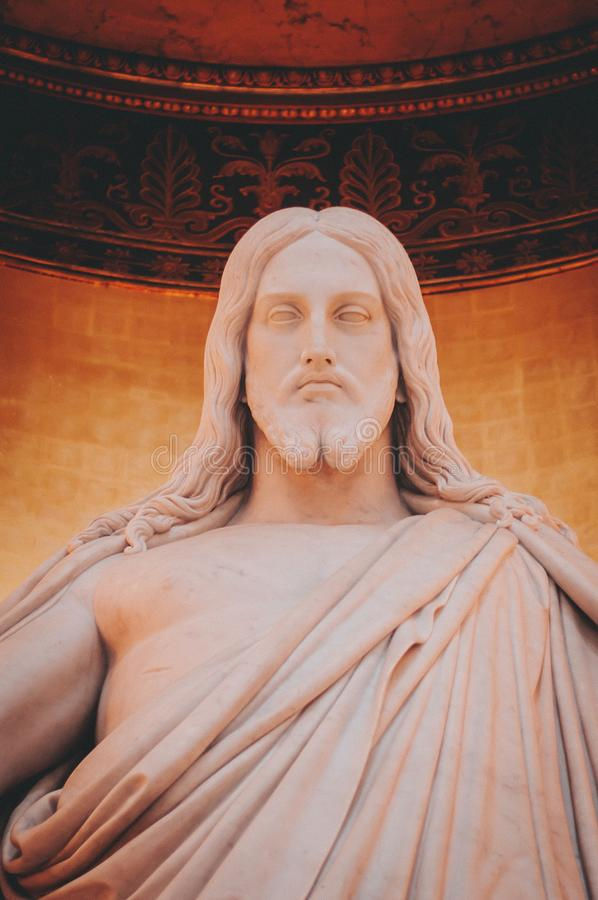 Christ statue detail stock photography