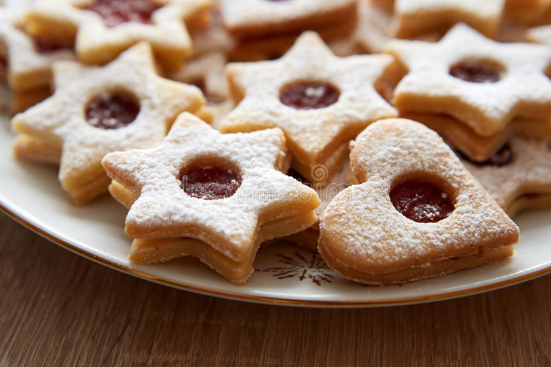 Closeup of Christmas Linzer cookies royalty free stock photo