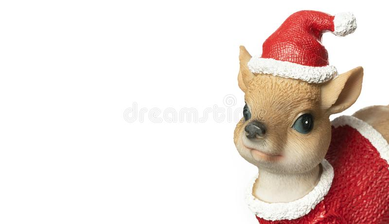 Closeup Christmas toy deer with red hat and Christmas clothes isolated on white background. Copy space stock images