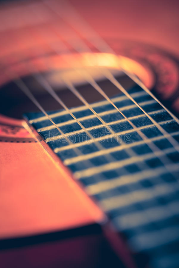 Closeup of a classic acoustic guitar royalty free stock images