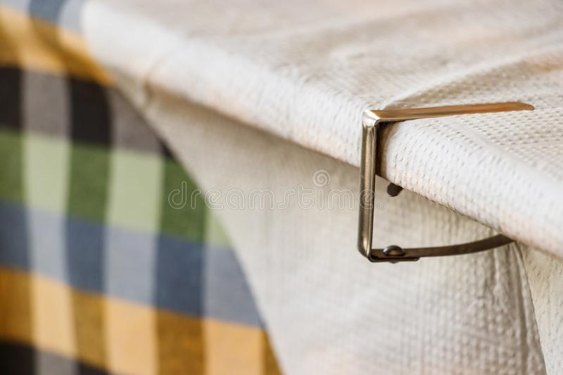 Clip - fastener paper tablecloth of a Greek taverna. stock photos