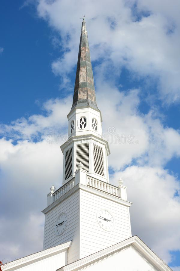 Closeup of the Clock tower and steeple on the First Congregational Church royalty free stock photos