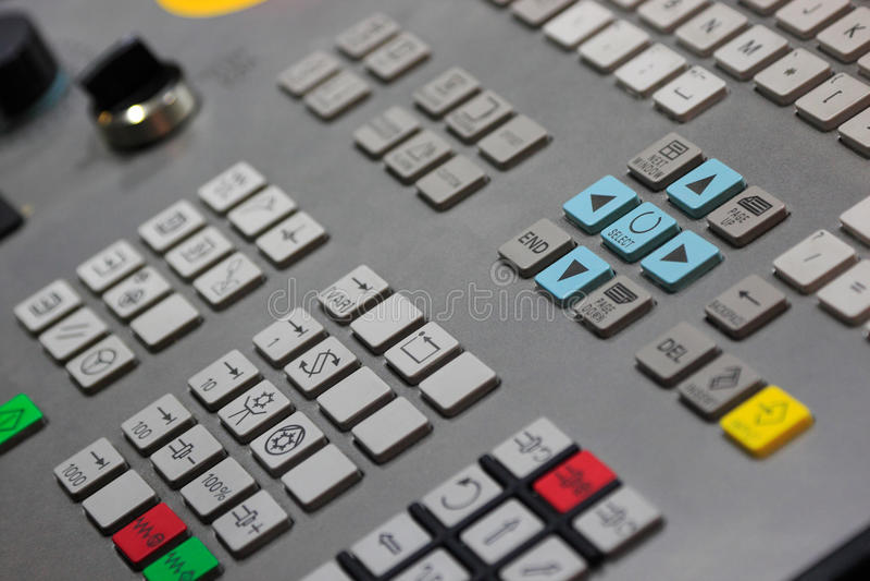 Closeup of CNC control panel. Control panel of CNC machine. Selective focus stock images