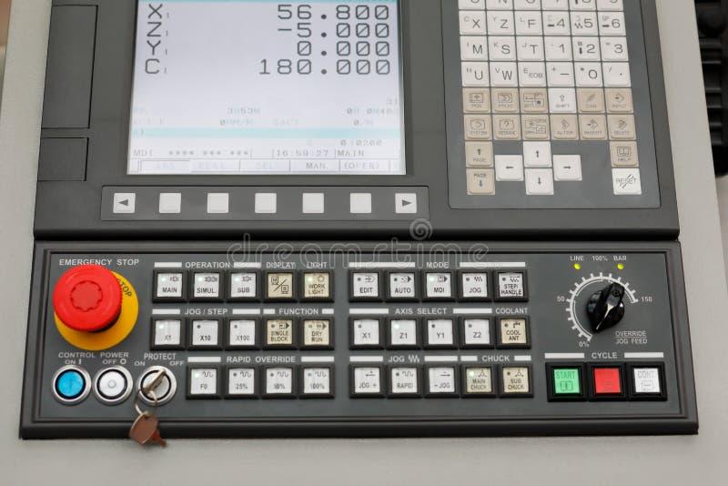 Closeup of CNC machining center control panel stock photo
