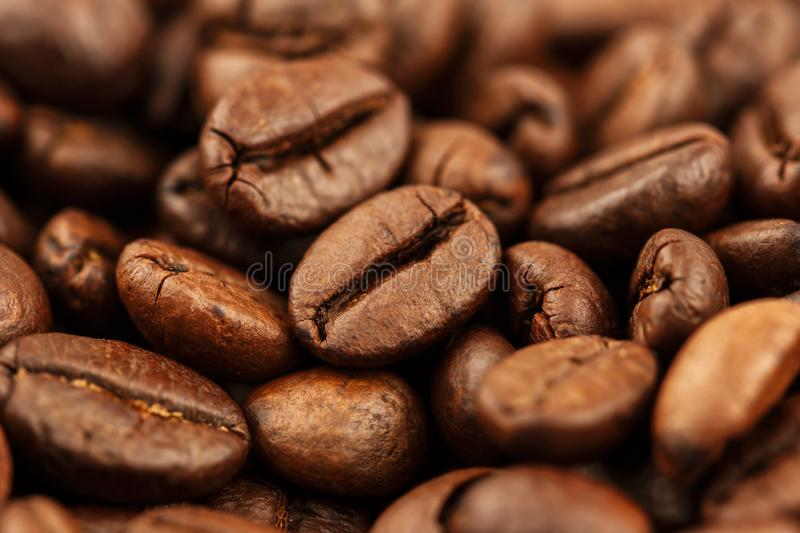 Closeup of coffee beans with selective focus for background. Closeup of coffee beans with selective focus for food background royalty free stock images