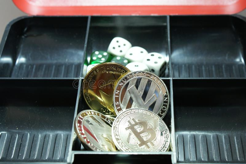Collection of cryptocurrency in a lockbox royalty free stock photo