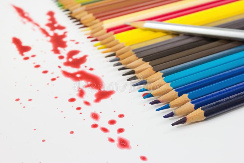 Closeup color pencil with dry red.  stock image