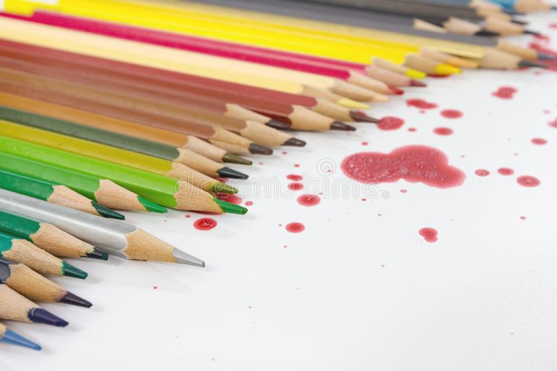 Closeup color pencil with dry red.  stock photos