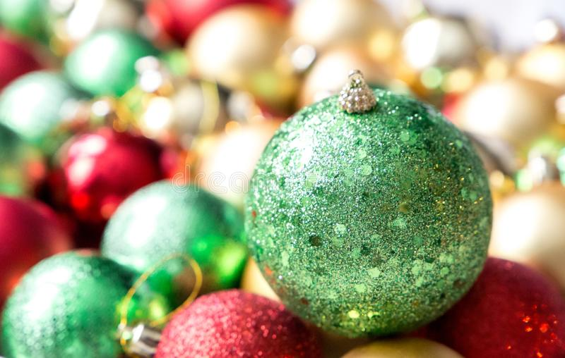 Colorful Christmas balls, abstract background. stock photo