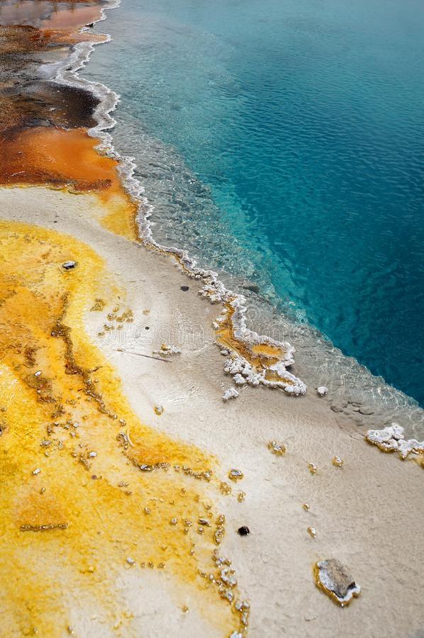 Closeup of colorful details at a geothermal pool stock images