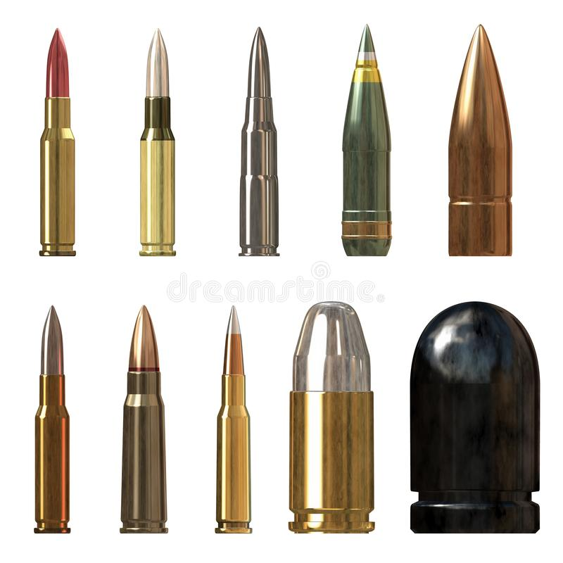 Closeup of colorful different type of bullets isolated over a white background, front  view High-resolution 3D CG rendering illus. Closeup of colorful different vector illustration