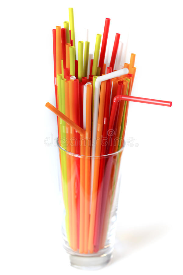 Closeup of Colorful drinking straws background, tubes for cocktails on a white background stock image