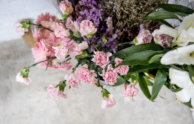 Closeup of colorful flowers arrangement royalty free stock photos