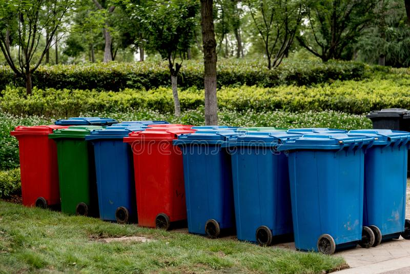 Closeup of colorful garbage cans stock images