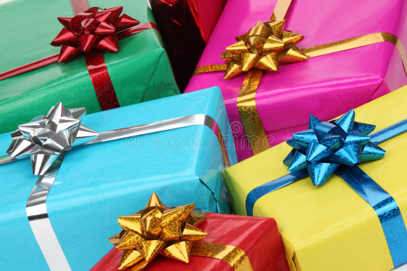 Closeup of colorful gifts boxes royalty free stock photos