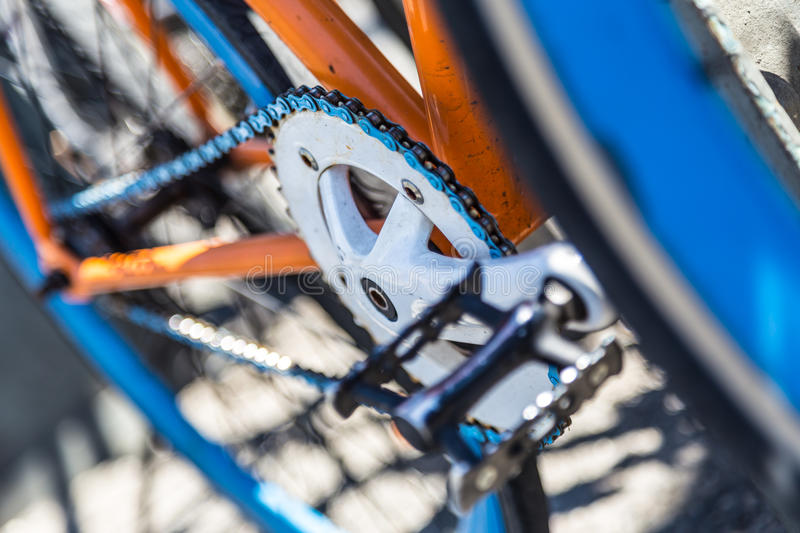 Closeup of a colorful hipster urban bicycle. stock images
