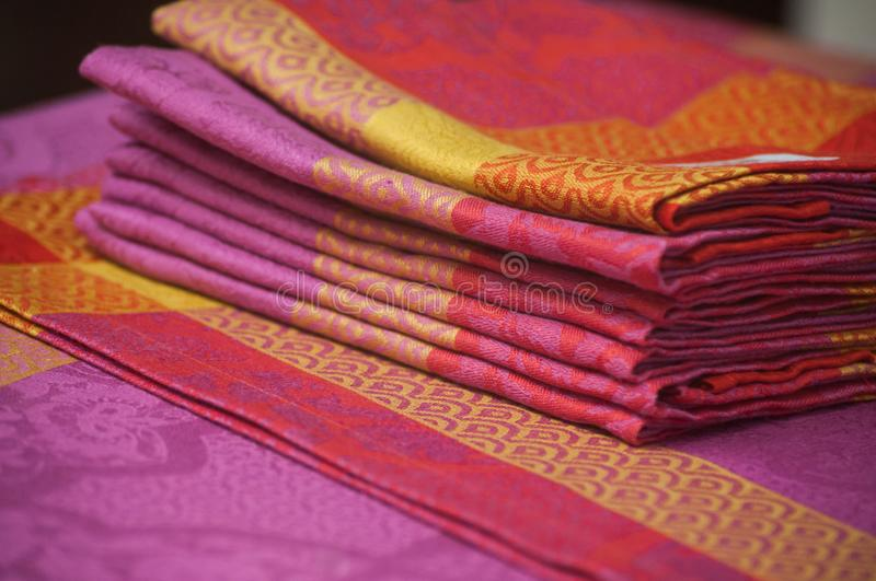 Colorful napkins collection in a decoration store showroom. Closeup of colorful napkins collection in a decoration store showroom stock photo