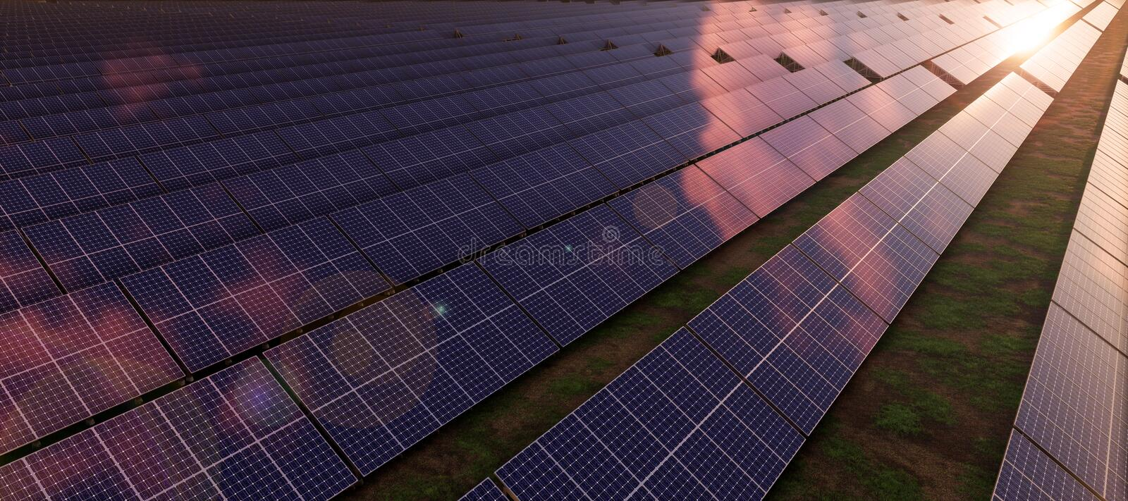Closeup of colorful panoramic aerial view landscape:solar power plant High-resolution 3D CG rendering illustration. Closeup of colorful panoramic aerial vector illustration