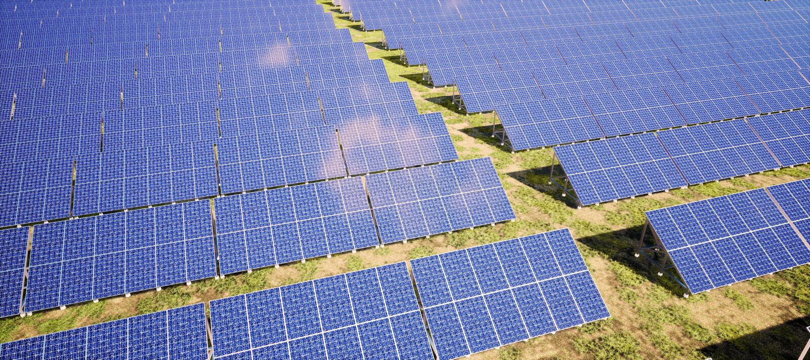 Closeup of colorful panoramic aerial view landscape:solar power plant High-resolution 3D CG rendering illustration. Closeup of colorful panoramic aerial stock illustration