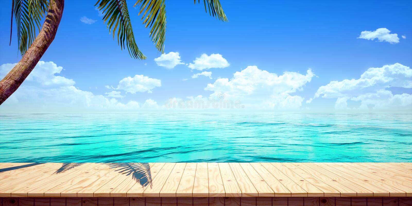 Closeup of colorful seaside wooden platform background, front view High-resolution 3D CG rendering illustration royalty free illustration
