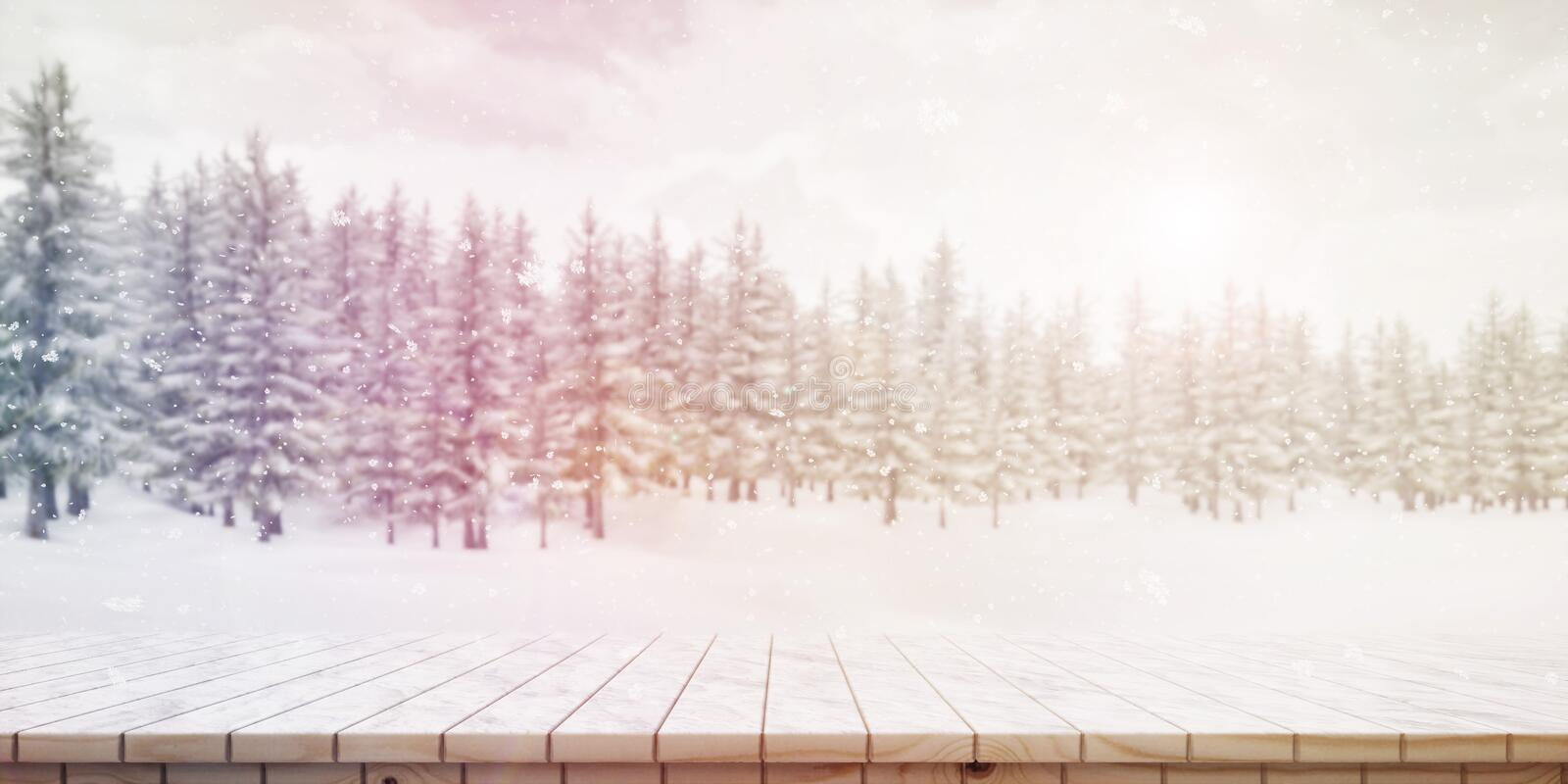 Closeup of colorful snowy wooden platform background, front view High-resolution 3D CG rendering illustration vector illustration