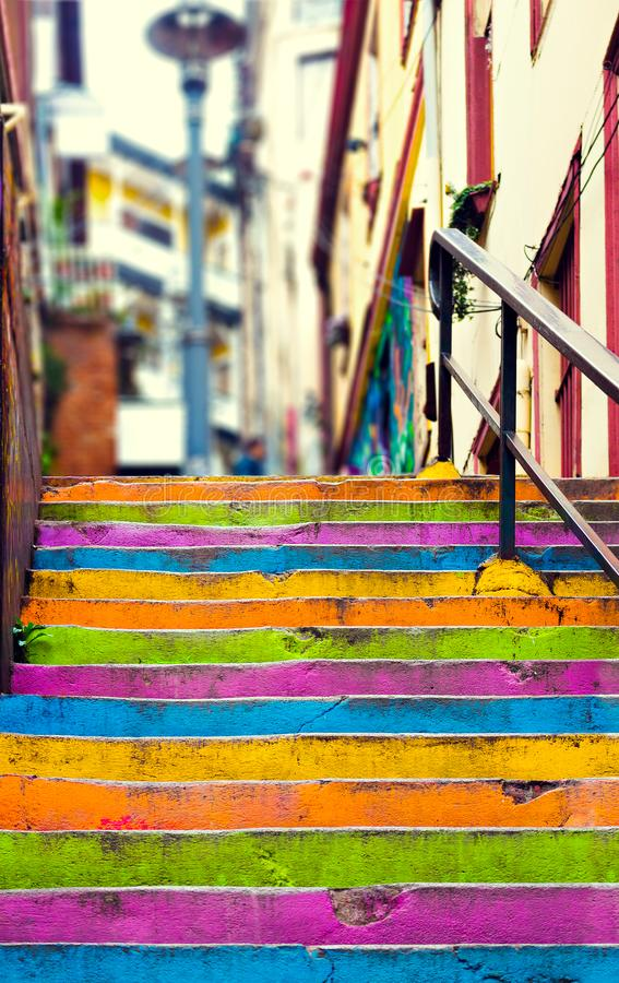 Closeup of colorful staircase royalty free stock image