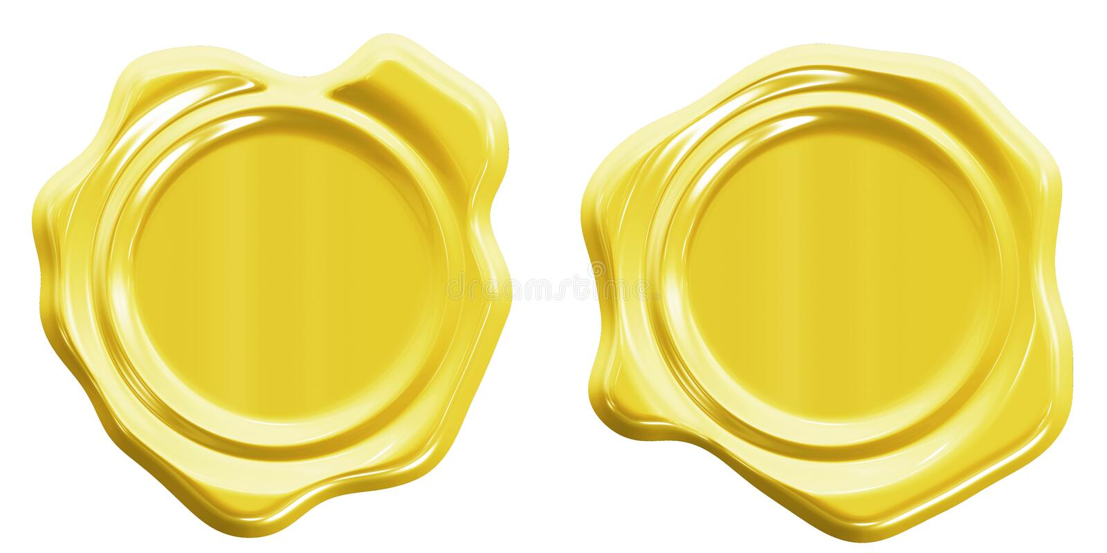 Closeup of colorful wax seal isolated over a white background, front  view. Clipping path inside, High-resolution 3D CG rendering illustration stock illustration