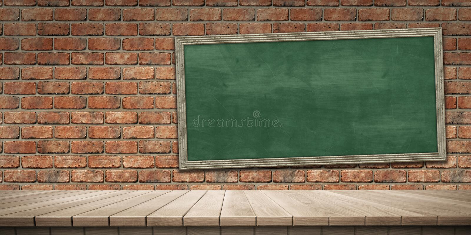 Closeup of colorful wooden platform and blackboard/chalkboard background, front view. High-resolution 3D CG rendering illustration vector illustration