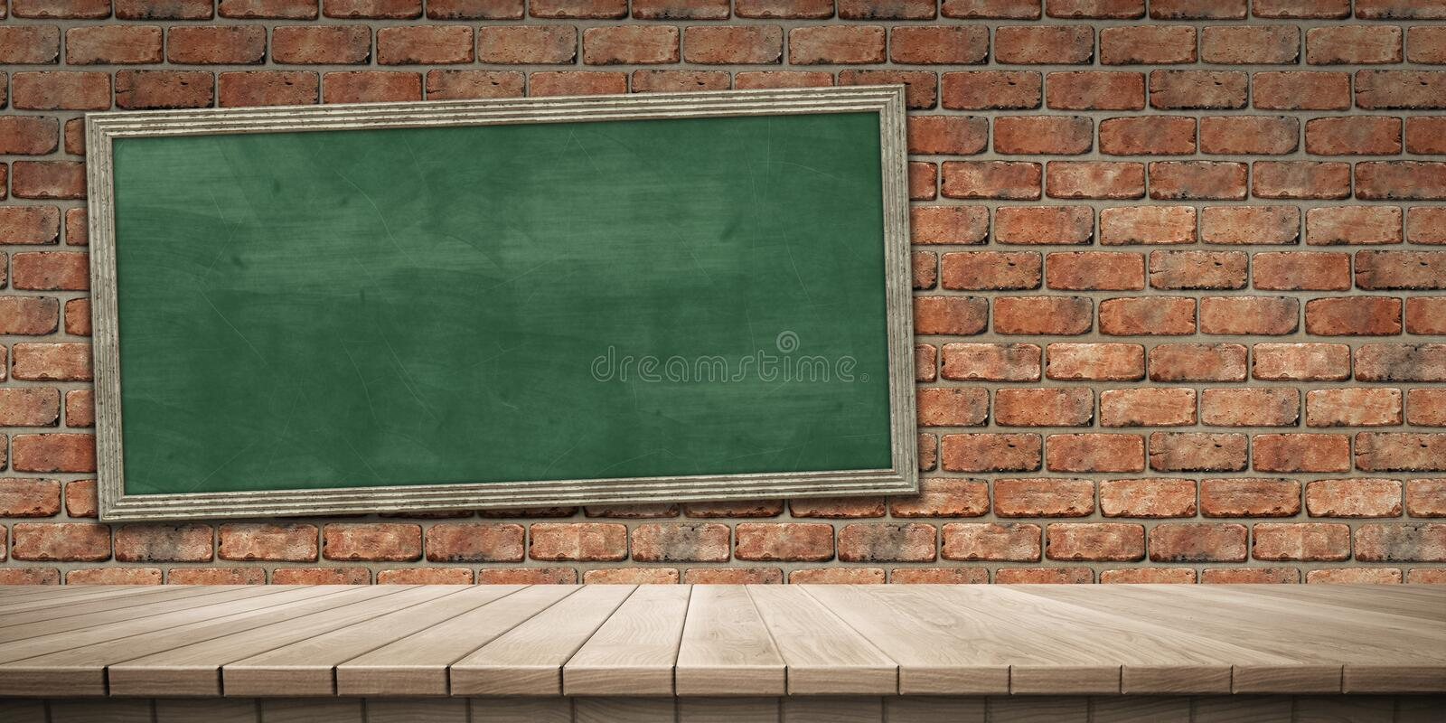 Closeup of colorful wooden platform and blackboard/chalkboard background, front view. High-resolution 3D CG rendering illustration stock illustration