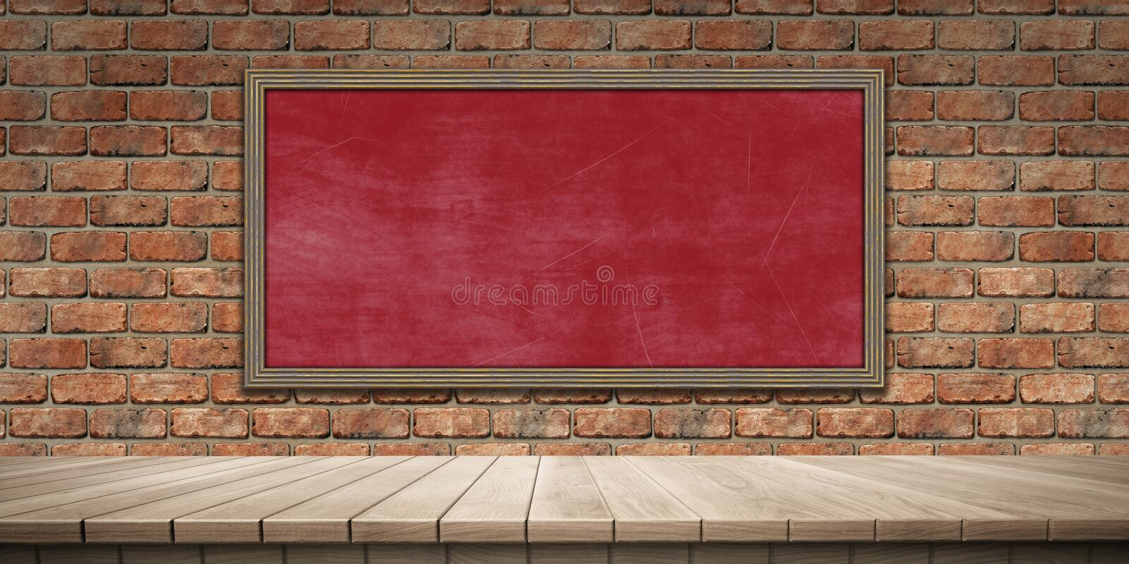Closeup of colorful wooden platform and blackboard/chalkboard background, front view. High-resolution 3D CG rendering illustration royalty free illustration
