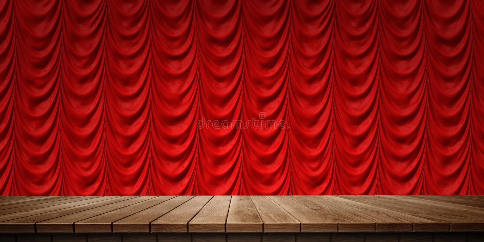 Closeup of colorful wooden platform and curtain background, front view. High-resolution 3D CG rendering illustration stock illustration