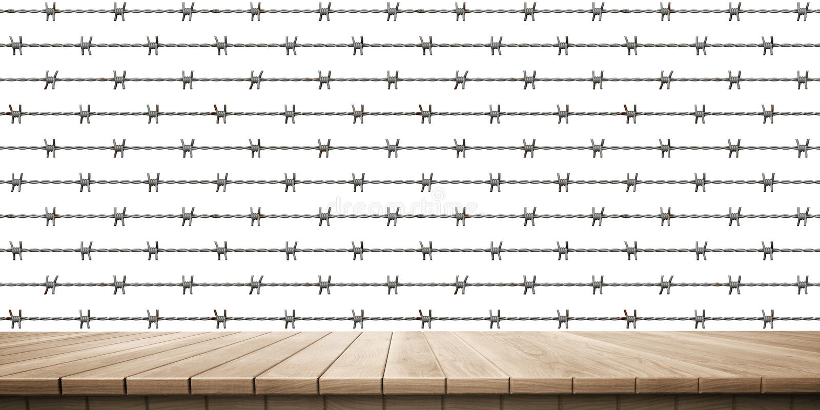 Closeup of colorful wooden platform and fence/railing background, front view. High-resolution 3D CG rendering illustration royalty free illustration