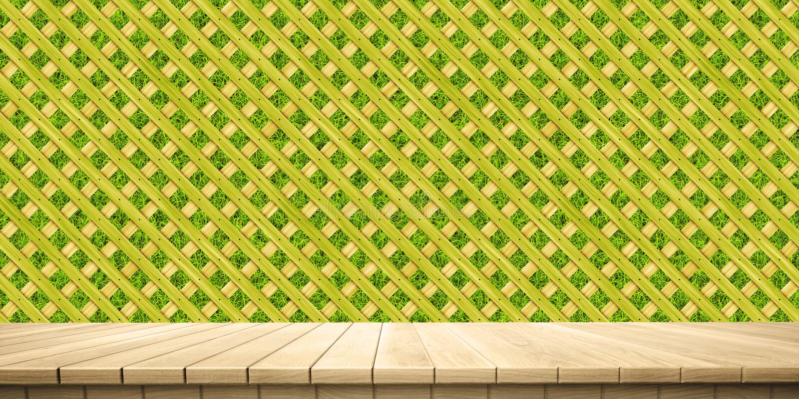 Closeup of colorful wooden platform and fence/railing background, front view. High-resolution 3D CG rendering illustration stock illustration
