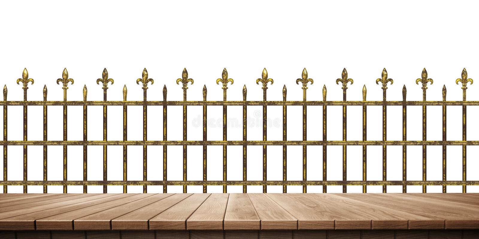 Closeup of colorful wooden platform and fence/railing background, front view. High-resolution 3D CG rendering illustration vector illustration