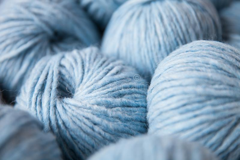 Closeup of colorful yarn clews royalty free stock image