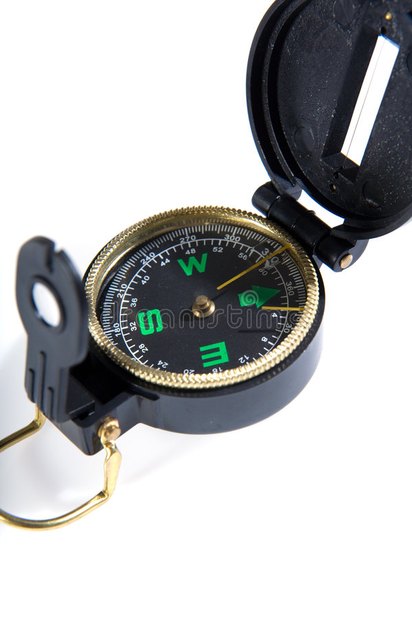 Closeup compass. On white background royalty free stock image