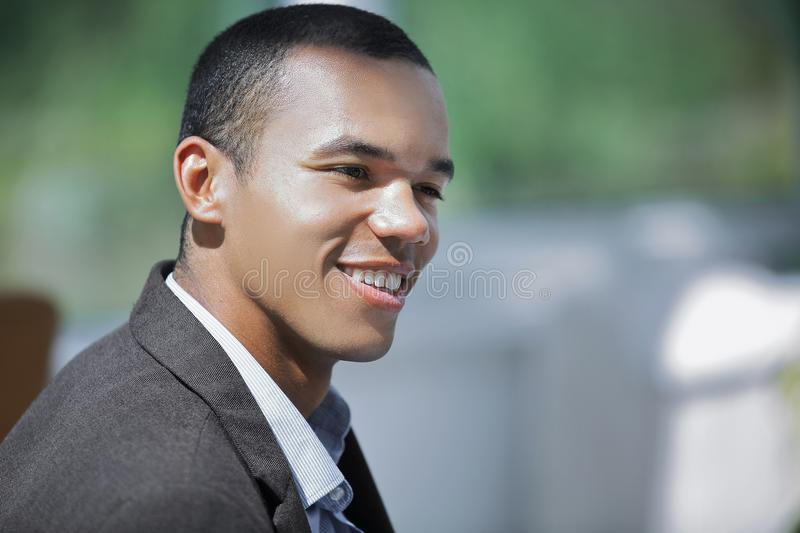 Closeup.confident young businessman on background of office stock photo