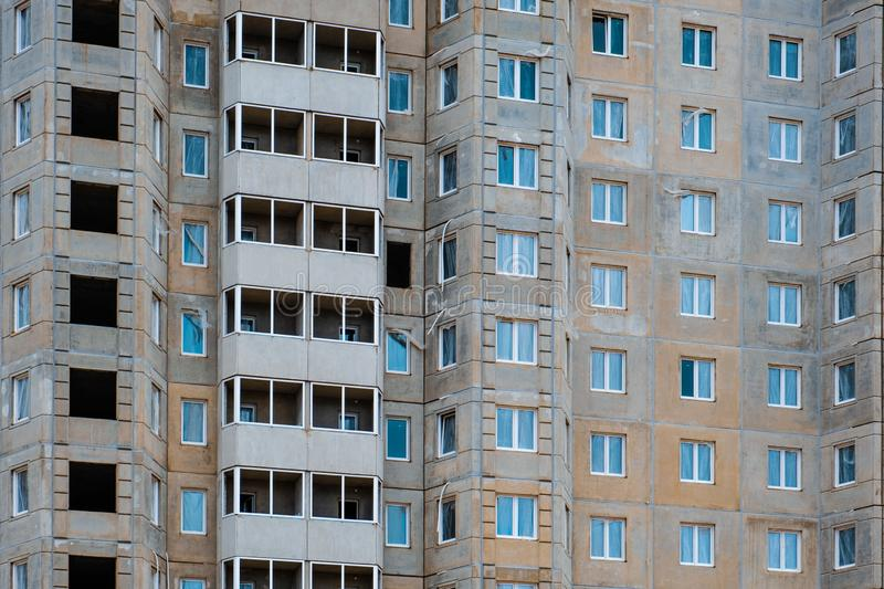 Construction of multi storey residential building in Minsk. Closeup of construction of multi storey residential building in Minsk, Belarus royalty free stock image