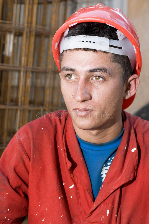 Closeup of Construction Worker's Face - Vertical royalty free stock photos