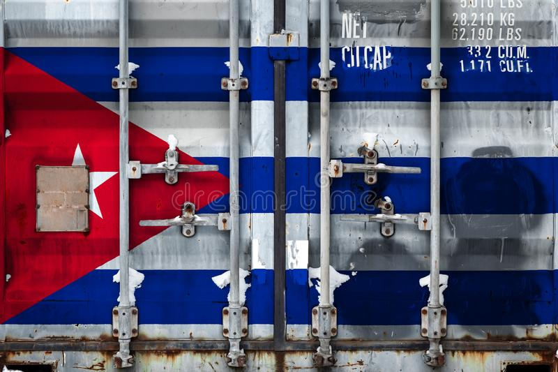 The concept of export-import and national delivery of goods. A closeup of a container with the national flag of Cuba. The concept of export-import Cuba and royalty free illustration